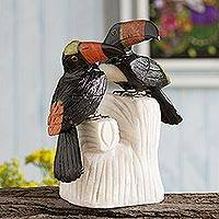 Onyx and jasper sculpture, 'Toucan Two' - Handcrafted Gemstone Birds Sculpture