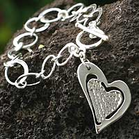 Sterling silver heart bracelet, 'Love's Message' - Peruvian Heart Shaped Sterling Silver Link Bracelet