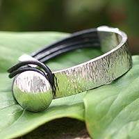 Leather accent sterling silver bracelet, 'Metropolitan' - Handcrafted Sterling Silver Wristband Leather Bracelet