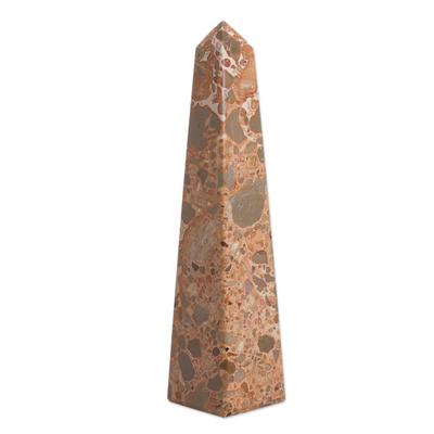 Leopard jasper obelisk, 'Fortress' - Hand Carved Leopard Jasper Gemstone Obelisk Sculpture