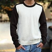 100% alpaca men's sweater, 'Modern Inca' - 100% alpaca men's sweater
