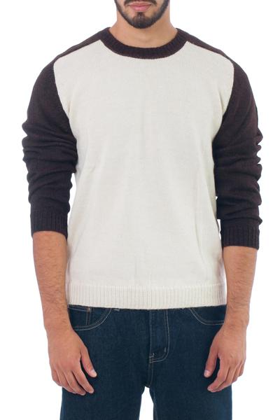 100% alpaca men's sweater, 'Modern Inca' - 100% alpaca men's sweater