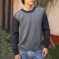 100% alpaca men's sweater, 'Inca Legend'
