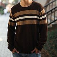 100% alpaca men's sweater, 'Andean Voyage' - Handcrafted Men's Alpaca Wool Striped Pullover Sweater