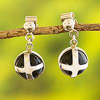 Onyx cross earrings, 'New Medieval' - Silver and Onyx Cross Earrings