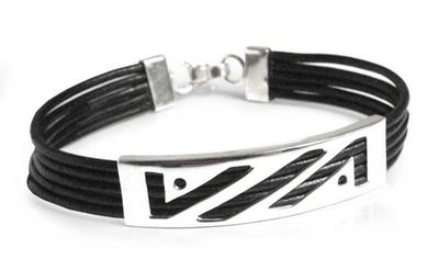 Leather bracelet, 'Illusions' - Handmade Leather Sterling Silver Wristband Bracelet