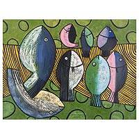 'Fishes III' - Expressionist Oil Painting