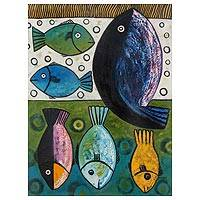 'Fishes II' - Expressionist Painting