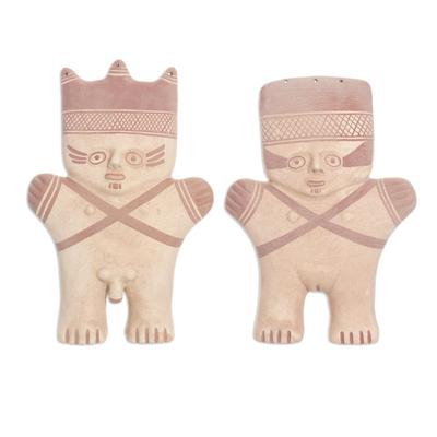 Ceramic sculptures, 'Cuchimilco Protection' (pair) - Archaeological Museum Style Ceramic Sculptures (Pair)
