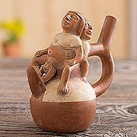 Ceramic sculpture, 'Childbirth' - Moche Museum Replica Ceramic Sculpture Handmade in Peru