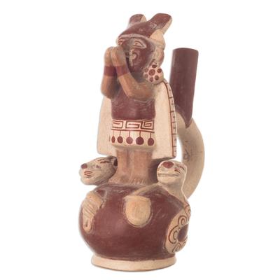 Ceramic sculpture, 'Lord Ai Aepec' - Unique Archaeological Ceramic Sculpture
