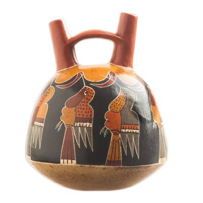 Ceramic sculpture, 'Hummingbird Celebration' - Hand Painted Archaeological Ceramic Sculpture