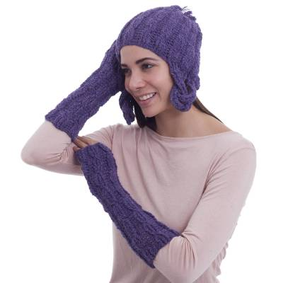 100% alpaca chullo hat and arm warmers, 'Lilacs' - Collectible Alpaca Wool Hat And Arm Warmer Set