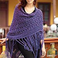 Featured review for 100% alpaca shawl, Violet Garden