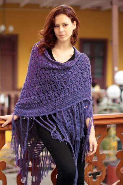 100% alpaca shawl, 'Violet Garden' - Hand Made Alpaca Wool Shawl