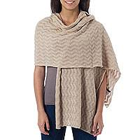 100% alpaca shawl, 'Nutmeg Zigzag'