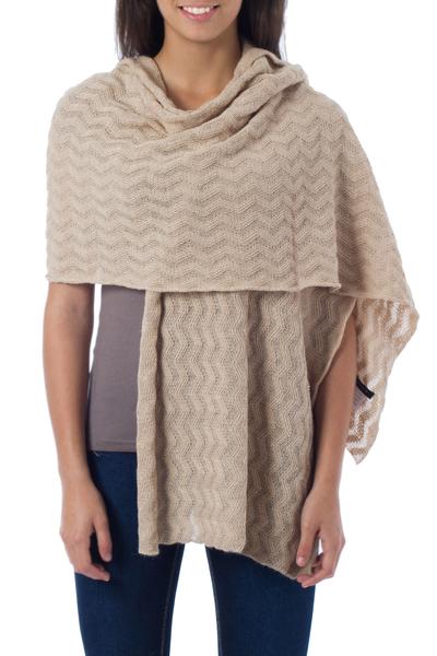 100% alpaca shawl, 'Nutmeg Zigzag' - Women's Alpaca Wool Solid Shawl