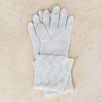 100% alpaca gloves, 'Snow Queen' - Peru Art Alpaca Wool Gloves