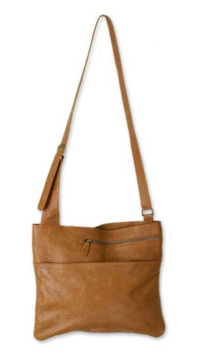 Leather handbag, 'Sands of Ica' - Brown Leather Sling Handbag