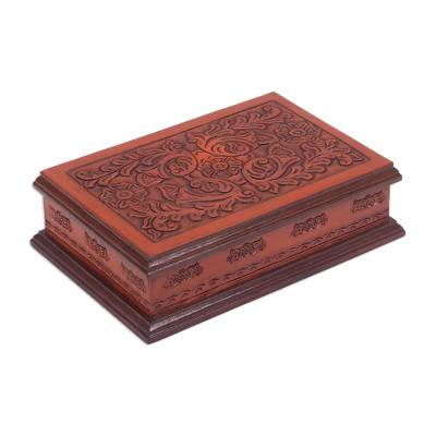 Cedar and leather jewelry box, 'Colonial Garden' - Floral Wood and Tooled Leather Jewelry Box