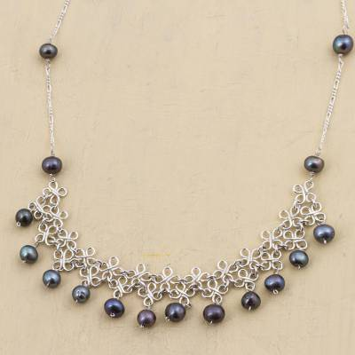 Pearl choker, 'Pearl Garden' - Collectible Floral Fine Silver Choker Pearl Necklace