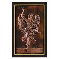 Copper panel, 'Angelic Messenger' - Peruvian Angel Copper Wall Art