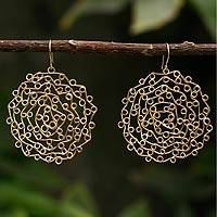 Gold vermeil dangle earrings, 'Rosette' - Gold vermeil dangle earrings