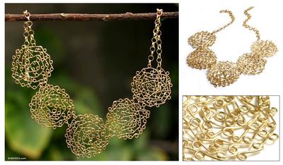 Gold vermeil collarette necklace, 'Rosette' - Gold vermeil collarette necklace