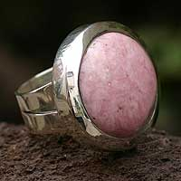 Rhodonite cocktail ring, 'Love Within' - Rhodonite cocktail ring