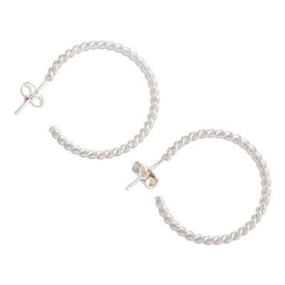 Sterling silver half hoop earrings, 'Spiral' - Sterling silver half hoop earrings