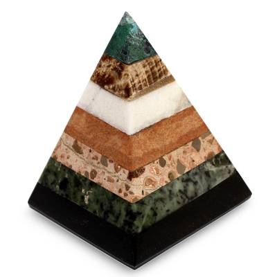 Gemstone pyramid, 'Empowered' - Hand Crafted Peruvian Gemstone Pyramid Sculpture