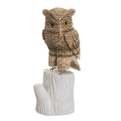 Aragonite and calcite sculpture, 'Horned Owl' - Artisan Crafted Aragonite Gemstone Sculpture