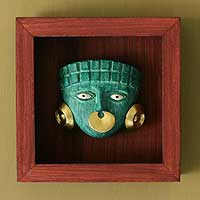 Papier mache shadow box mask, 'Emerald Moche Mask' - Original Cultural Papier Mache Mask in Shadow Box