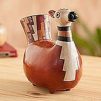Ceramic sculpture, 'Little Llama' - Handcrafted, Inca Pottery Replica