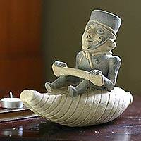 Ceramic sculpture, 'Moche Fisherman' - Ceramic sculpture