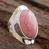Rhodonite cocktail ring, 'Cradle of Love' - Chunky Sterling Silver and Pink Rhodonite Ring from Peru