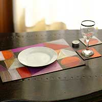 Placemats and coasters, 'Symmetrical Dances' (set of 6) - Placemats and coasters (Set of 6)