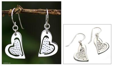 Sterling silver heart earrings, 'True Love's Song' - Handmade Heart Shaped Sterling Silver Dangle Earrings