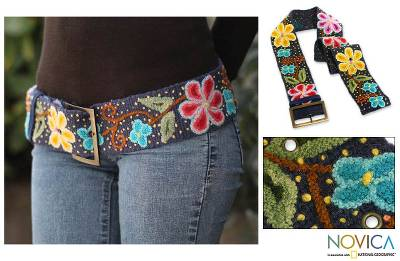 Wool belt, 'Midnight Blue Bouquet' - Artisan Crafted Floral Wool Embroidered Belt