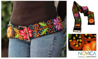 Wool belt, 'Black Night Bouquet' - Unique Floral Wool Embroidered Belt from Peru