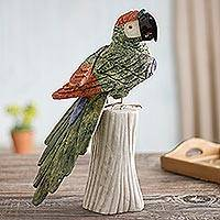 Gemstone sculpture, 'Majestic Macaw' - Gemstone Bird Sculpture of Serpentine and Jasper