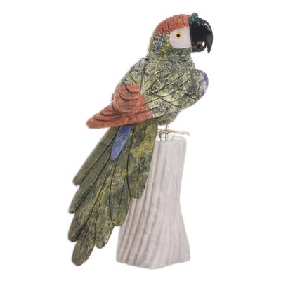 Gemstone Bird Sculpture of Serpentine and Jasper