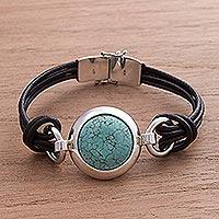 Turquoise pendant bracelet, 'Love Goddess' - Turquoise and Sterling Silver Bracelet
