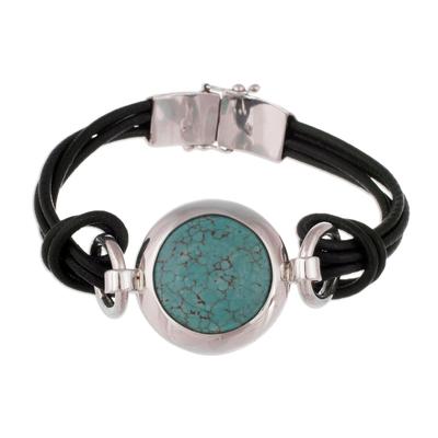 Turquoise pendant bracelet, 'Love Goddess' - Turquoise pendant bracelet
