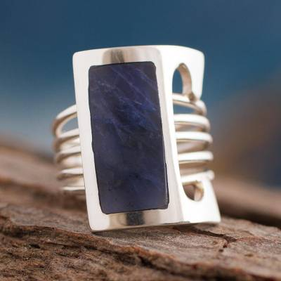 Sodalite cocktail ring, 'Imagination' - Modern Fine Silver and Sodalite Ring