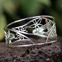 Sterling silver flower cuff bracelet, 'Autumn Bouquet' - Sterling Silver Flower Cuff Bracelet