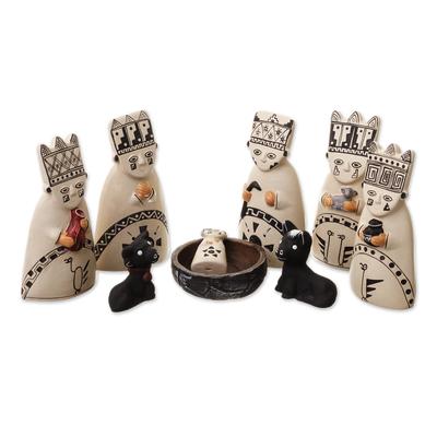 Ceramic nativity scene, 'Born to the Amazons' - Christmas Ceramic Nativity Scene from Peru