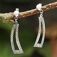 Silver dangle earrings, 'Path of Thorns' - Silver dangle earrings