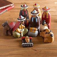 Ceramic nativity scene, 'Born to Ayacucho' - Artisan Crafted Peruvian Christmas Ceramic Nativity Scene