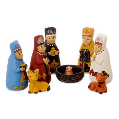 Ceramic nativity scene, 'Born to Lambayeque' - Peruvian Ceramic Nativity Scene
